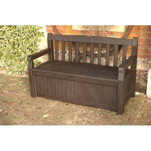 Iceni 2 Seater Resin Storage Bench Garden Storage Bench Storage