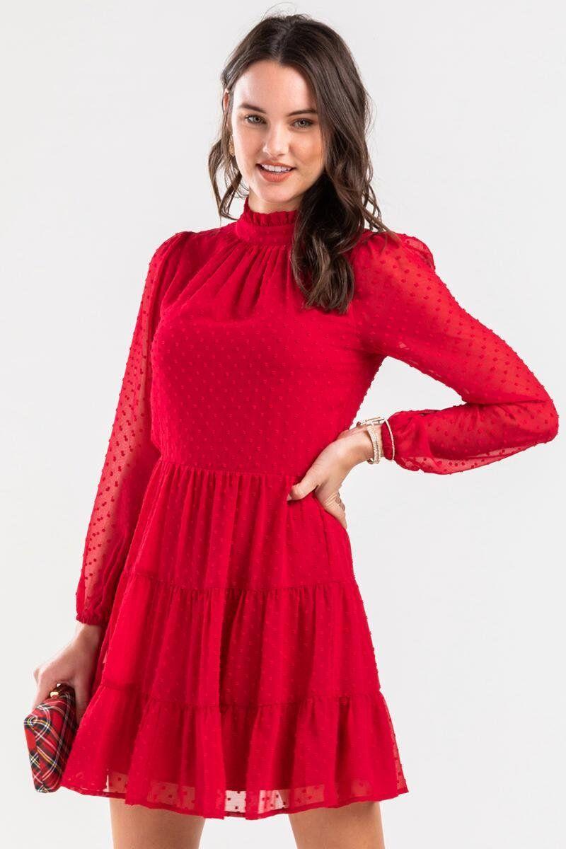 Angelica Tiered Swiss Dot Mini Dress Dresses Long Sleeve Dress Outfit Red Long Sleeve Dress [ 1200 x 800 Pixel ]