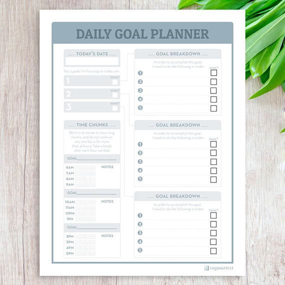 daily goal planner weekly planner printable goal tracker planner