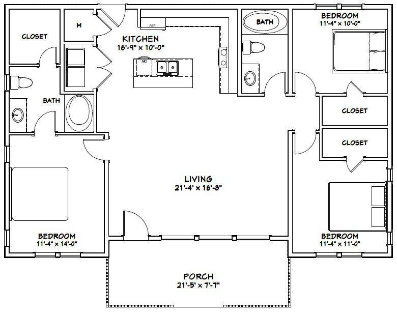 46x30 House 3 Bedroom 2 Bath 1 338 Sq Ft Pdf Floor Plan Instant Download Model 1 House Floor Plans Bedroom Floor Plans House Flooring