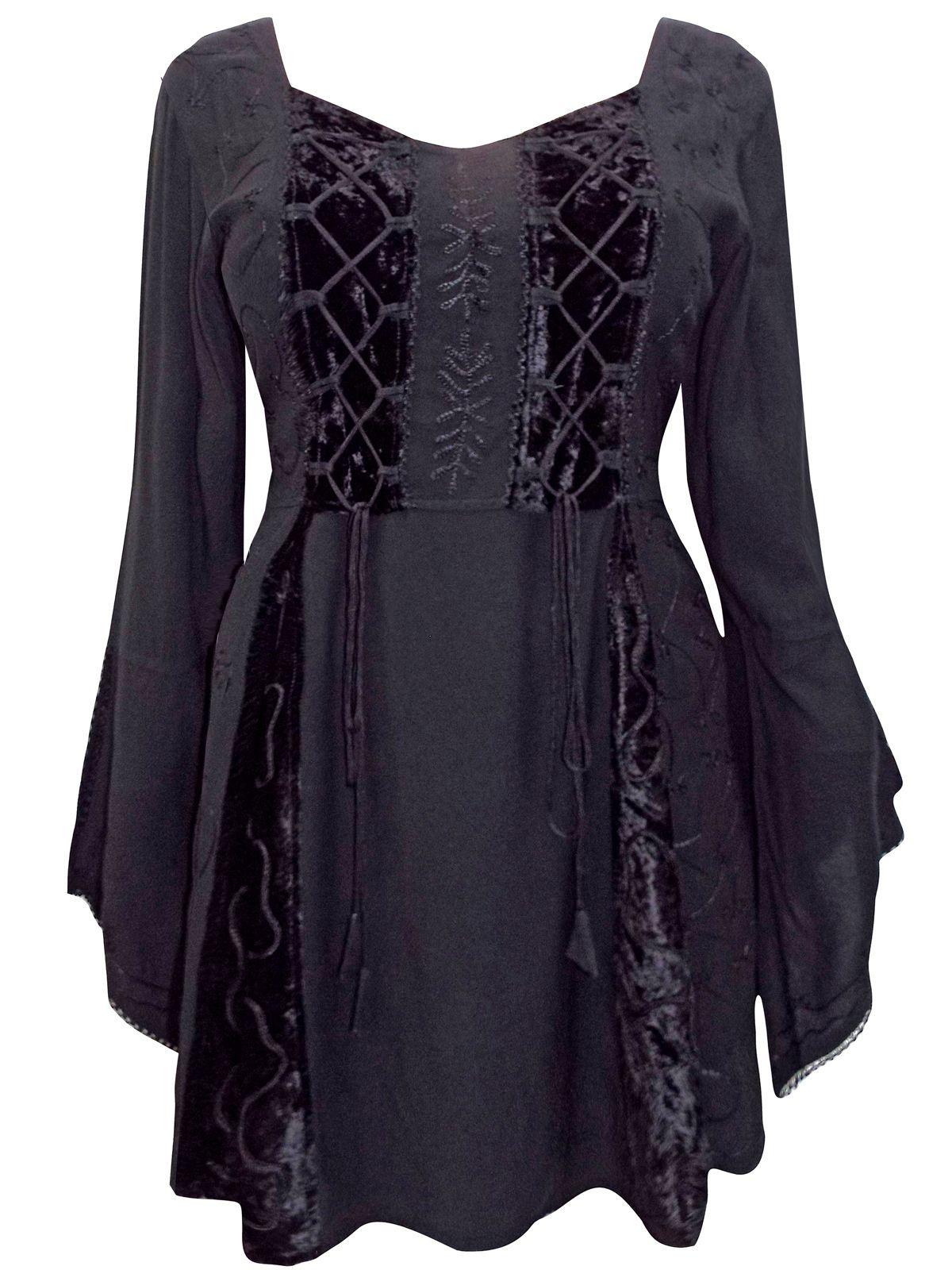 6acddf5afec eaonplus BLACK Embroidered Renaissance Gothic Corset Tunic Top - Plus Size  18 20
