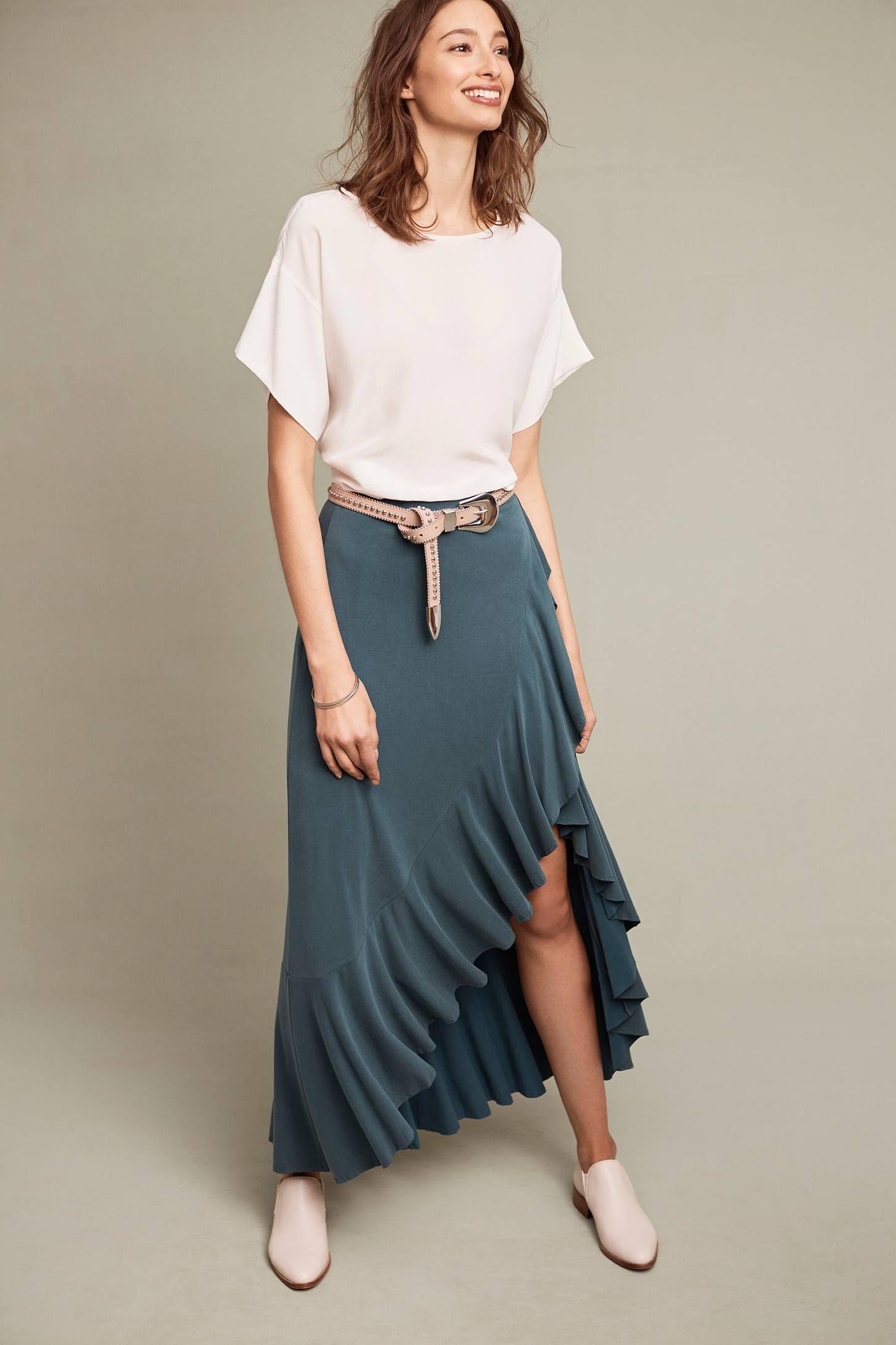 Ruffled maxi skirt pinterest anthropologie ruffles and detail