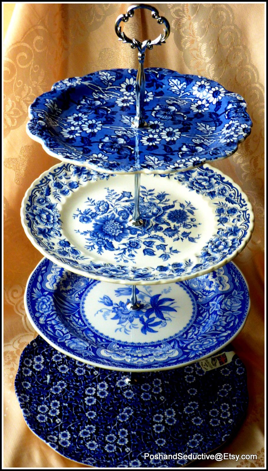 Based On Selection Of The Best English Made China Brands Burleigh Blue Calico Jacobean In Striking Blue And Whi Patterned Plates Blue And White Handmade Cake