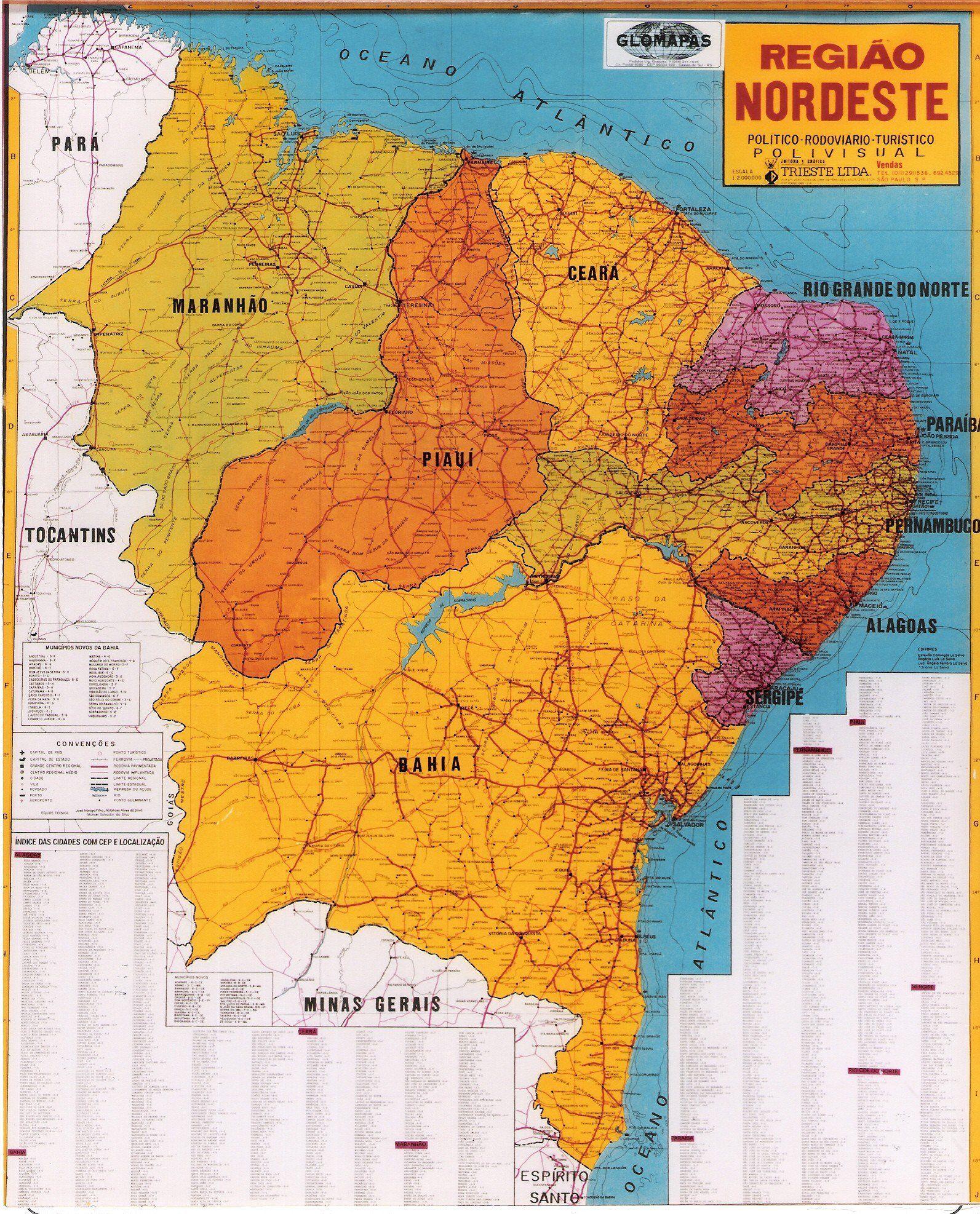 mapa do Nordeste brasileiro