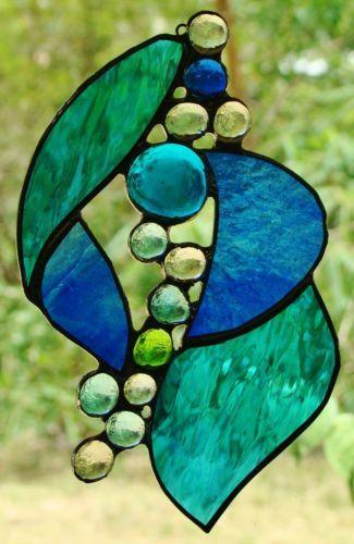 'Aqua Haze' Ocean Coloured Stained Glass Lightcatcher Leadlight Ready TO Hang | eBay FREE SHIPPING  $49