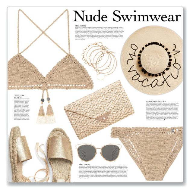"""Nude Swimwear"" by myduza-and-koteczka ❤ liked on Polyvore featuring SHE MADE ME, August Hat, JNB, Anja and Christian Dior"