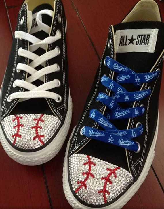 7859b0a1497f Show your team spirit with these!! Baseball Blinged Converse by ...