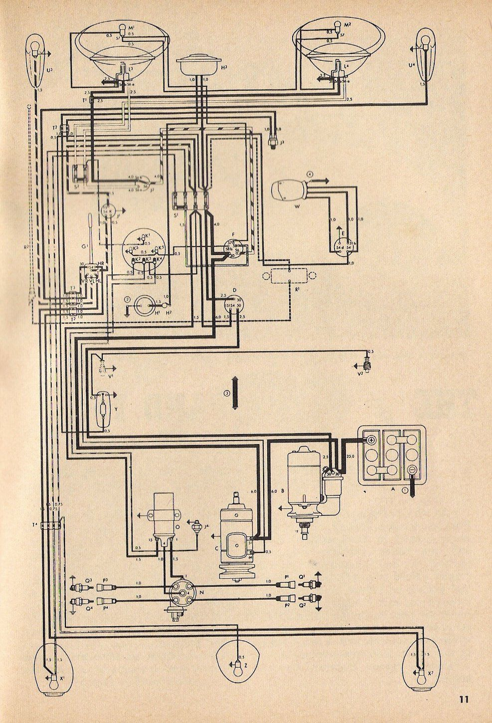 1957 Beetle Wiring Diagram Thegoldenbug Com In 2020 Vw Beetles Beetle Diagram