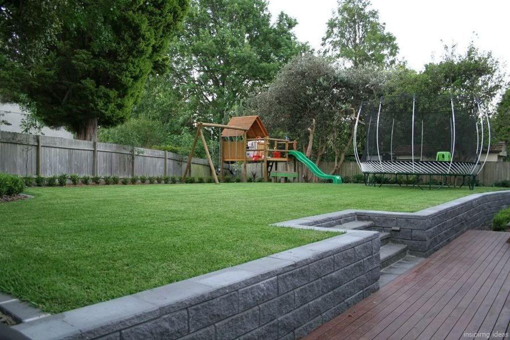 55 Best Backyard Playground Design Ideas   Sloped backyard ... on Retaining Wall Ideas For Sloped Backyard id=47489