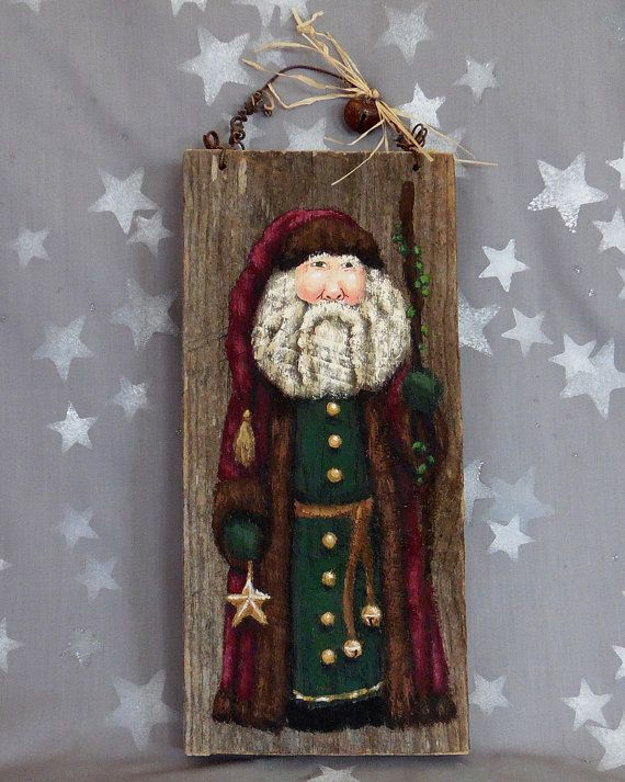 "Star Bringer, Christmas Santa Claus, authentic barnwood, hand painted, 12"" x 5 1/2"""