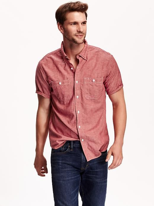 Men/'s Button Up Casual Short Sleeve Pastel Chambray Woven Shirts BRAND NEW