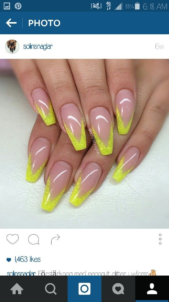 Yellow tip on coffin nails | Yellow tip coffin | Pinterest | Coffin ...