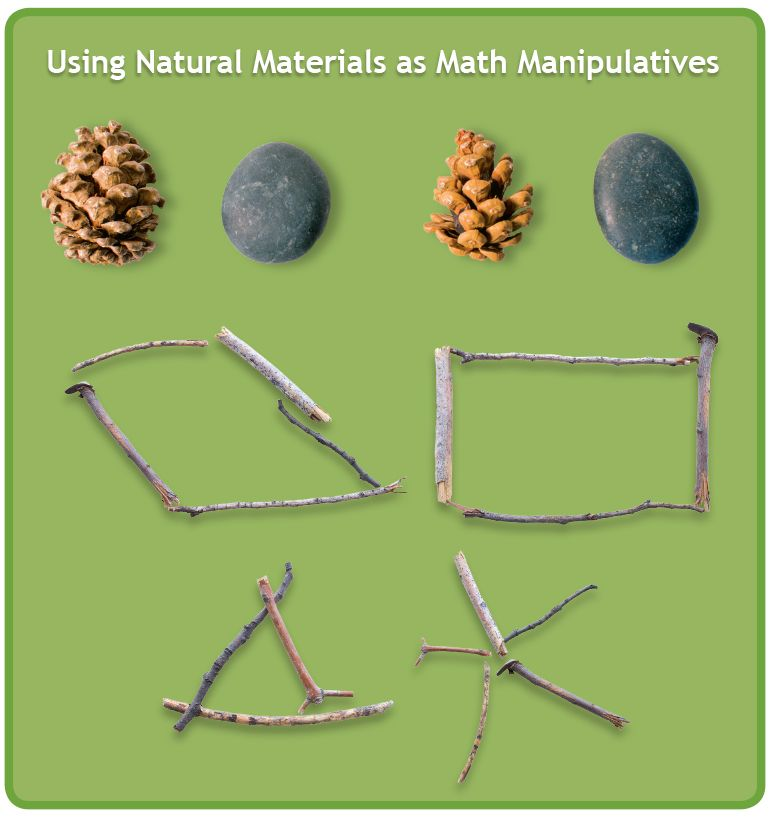 Go for a walk outside, and collect materials to use to practice counting, patterning, sorting and making and identifying shapes.