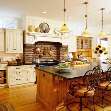 Vintage Kitchen with Brick Hearth