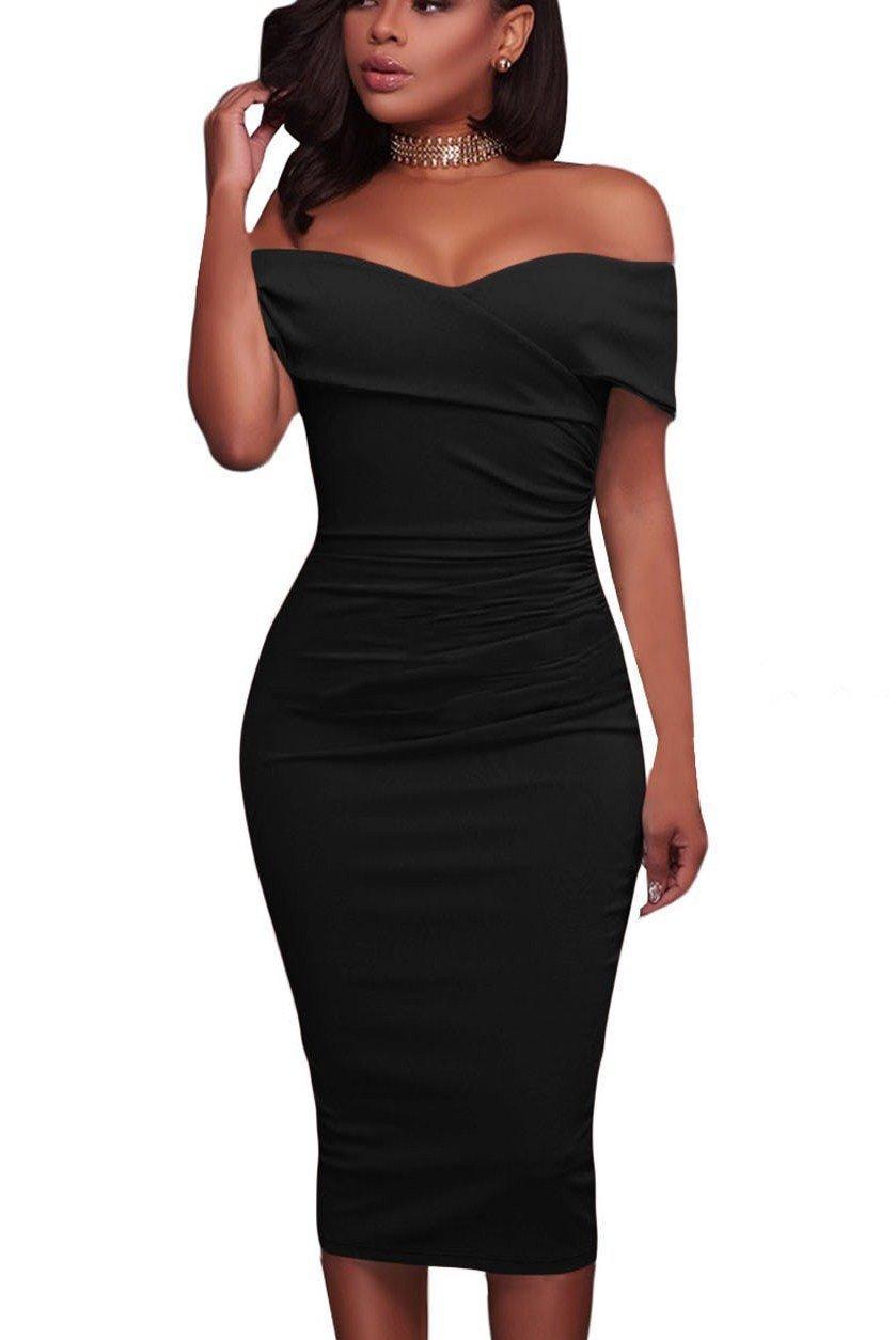 Onlinechoic Black Ruched Off The Shoulder Bodycon Formal Midi Dress Midi Dress Formal Bodycon Dress Formal Figure Flattering Dresses [ 1255 x 839 Pixel ]