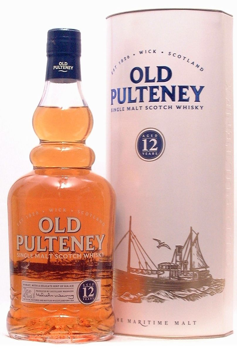 Old Pulteney 12, Highland, 4/5. Sea air, candied fruit. Good value. Old Pulteney is the northernmost distillery on the Scottish mainland.