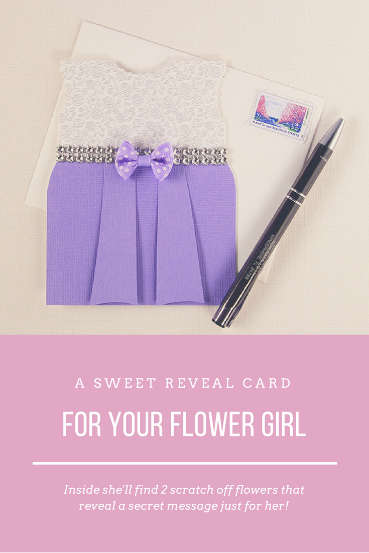 You'll put a smile on your Flower Girl's face when she gets this adorable reveal card by Sugar Notes. It's completely handmade and the customization is FREE!