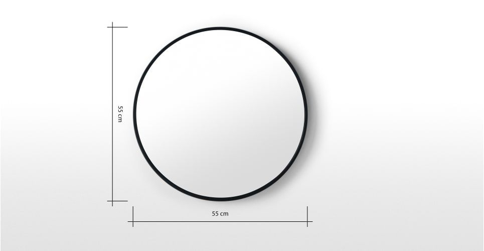 Essentials Bex Runder Spiegel 55 Cm Schwarz Mirror