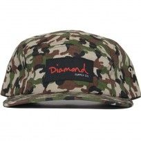 Diamond OG Script camo 5 Panel cap.