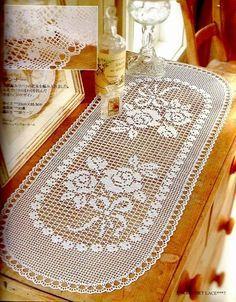 Uncinetto E Crochet Centro Tavola Ovale A Uncinetto Filet Crochet
