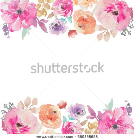 Colorful Watercolor Flower Border Painted Background