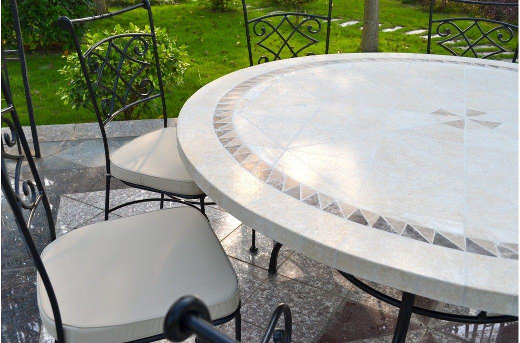 Table de jardin Ronde en mosaïque de marbre 160cm 125cm - IMHOTEP ...