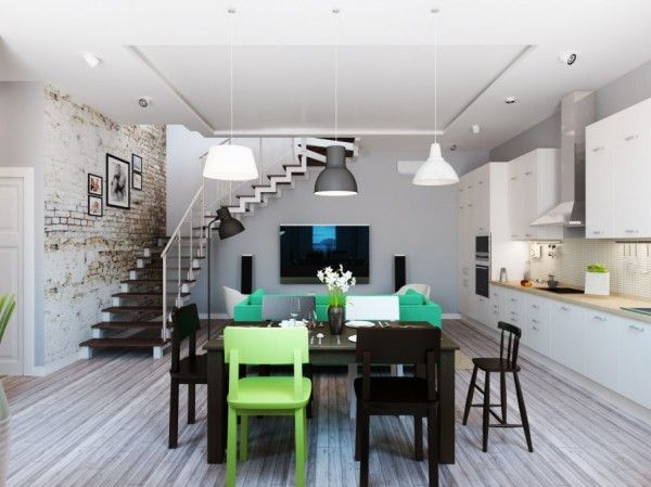 Fabulous Modern Apartment In Minimalist And Stylish Look: Incredible Open  Floor Design Interior For Kitchen
