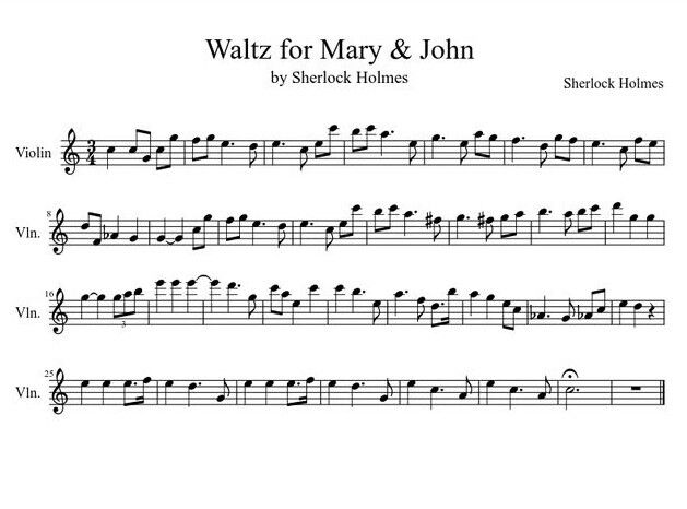 Sheet Music For The Song Sherlock Wrote For Mary And John
