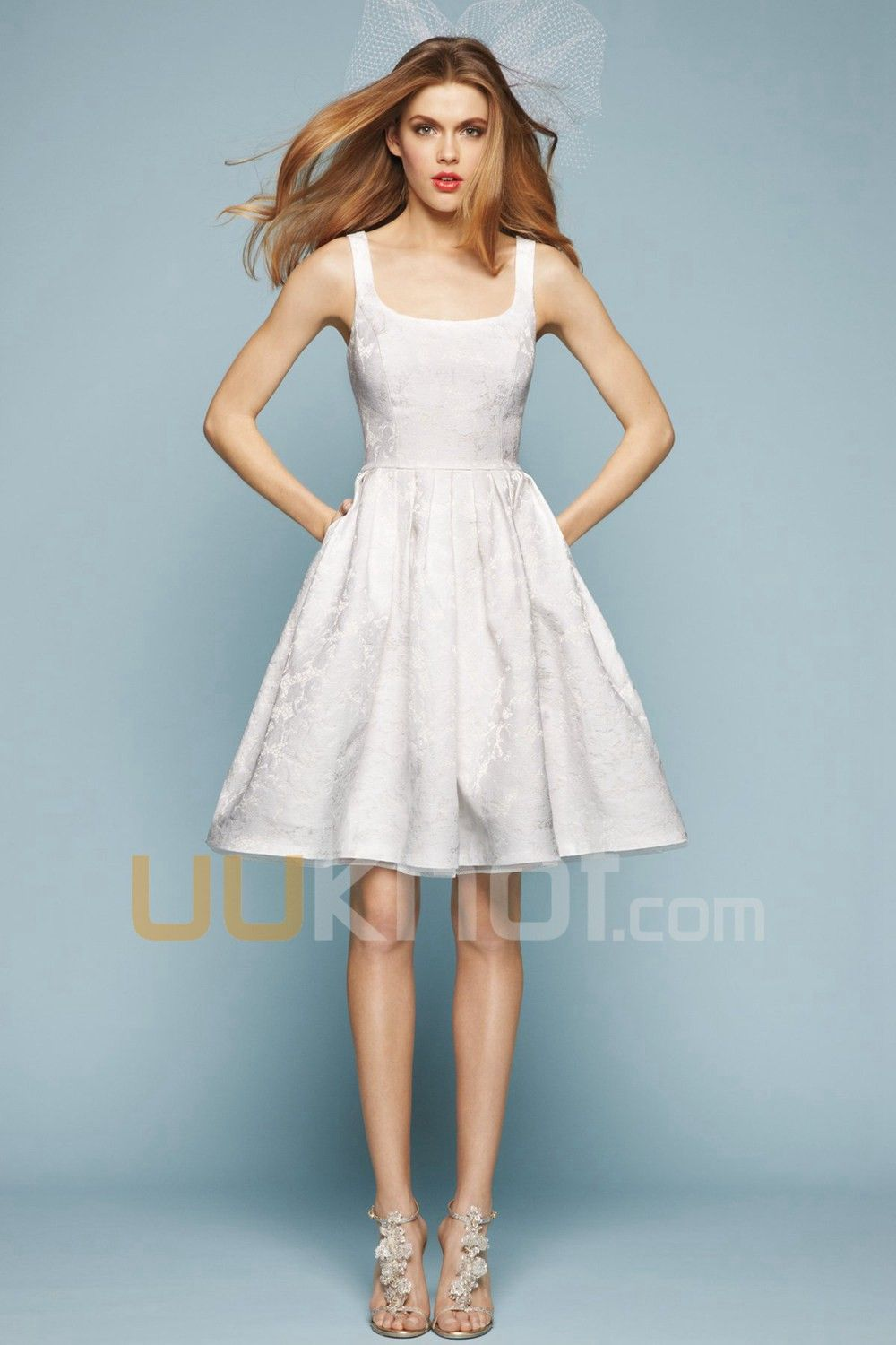 A-line Scoop Knee-Length Lace Wedding Dress For Bride - UUknot.com ...