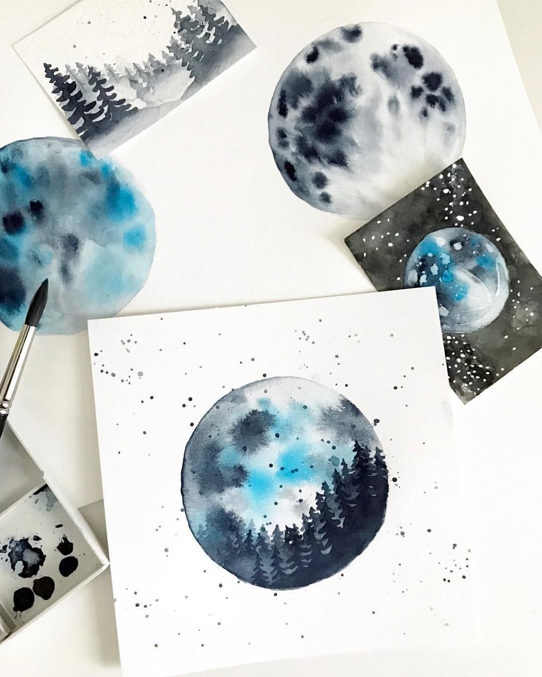 Watercolor Moon Experiments And Practice By Deanna Jensen Of