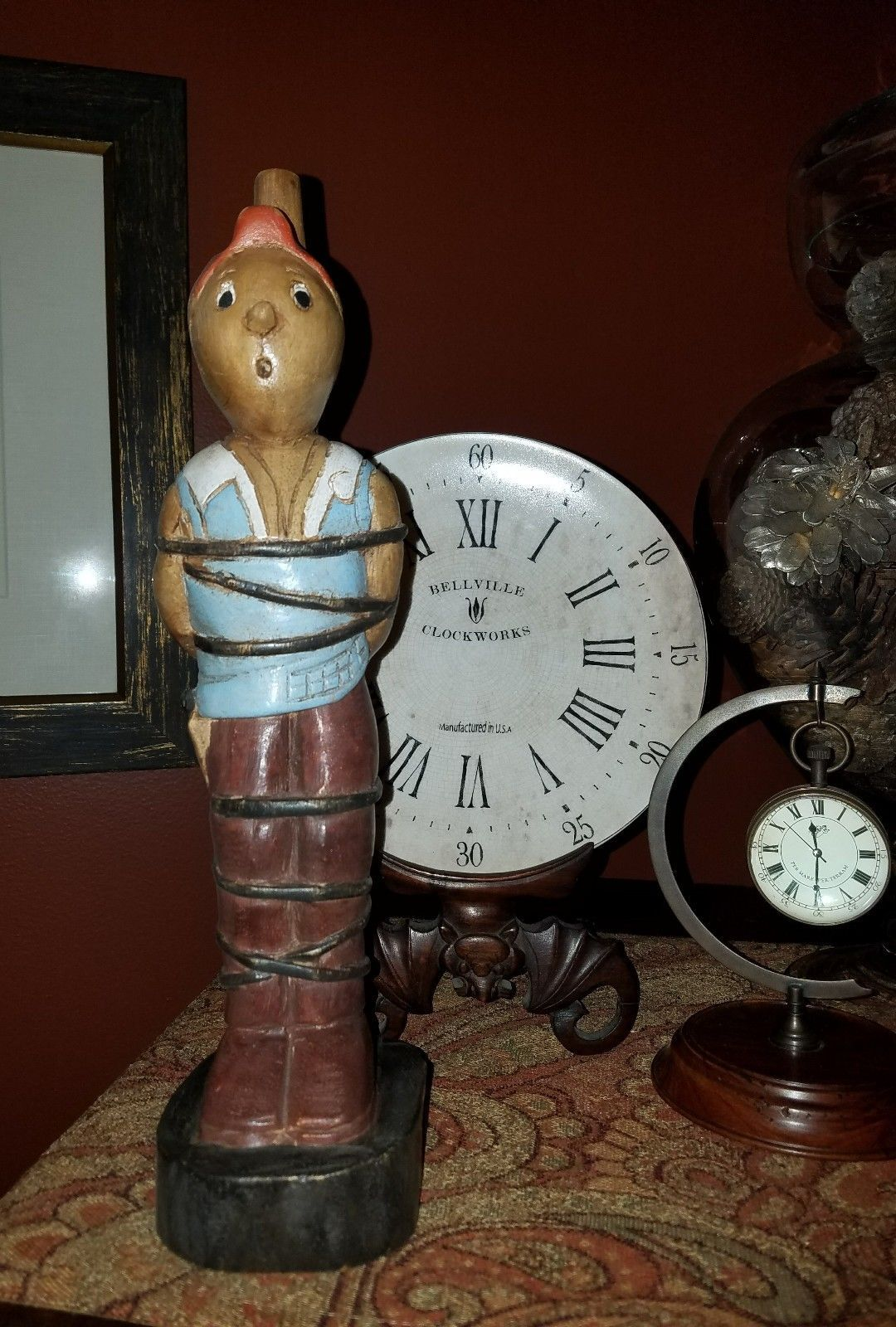 Tintin Tied Up Carved Wooden Figure Vintage Games And