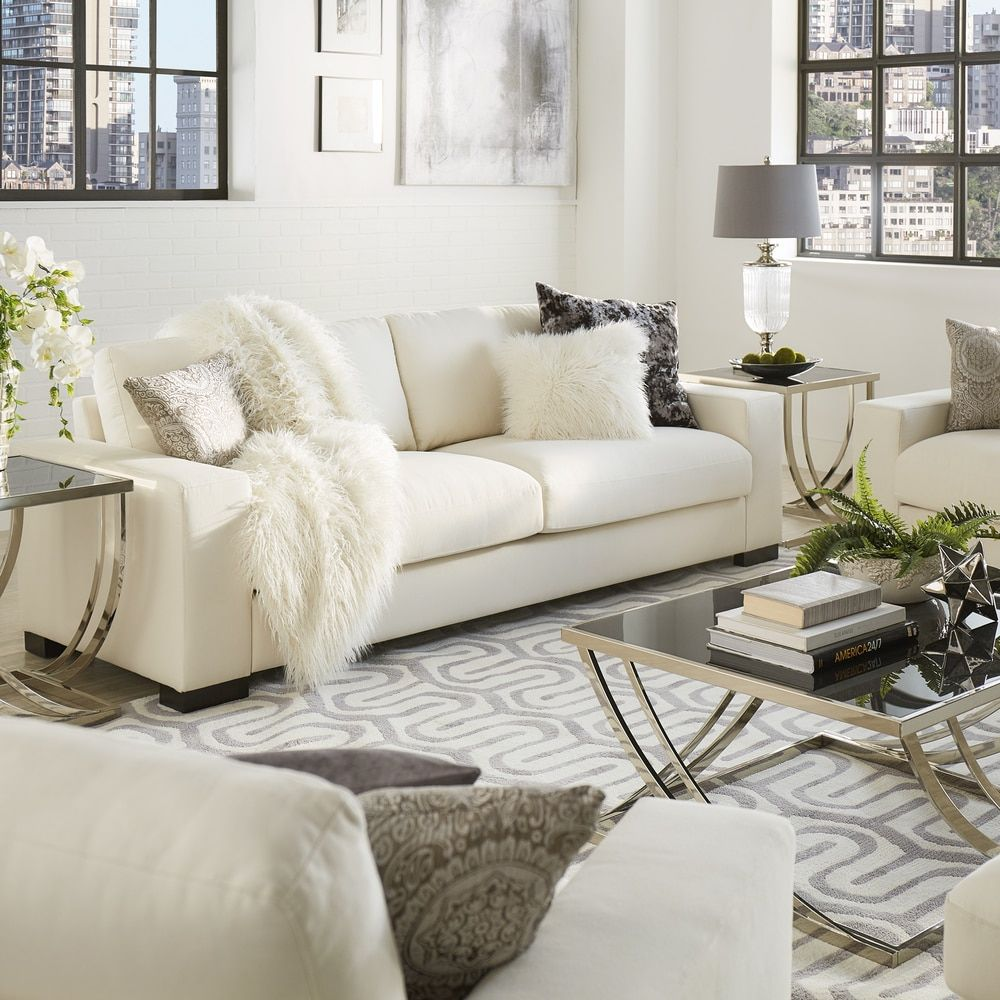 Lionel Modern White Fabric Down-filled Sofa by iNSPIRE Q Artisan by iNSPIRE  Q