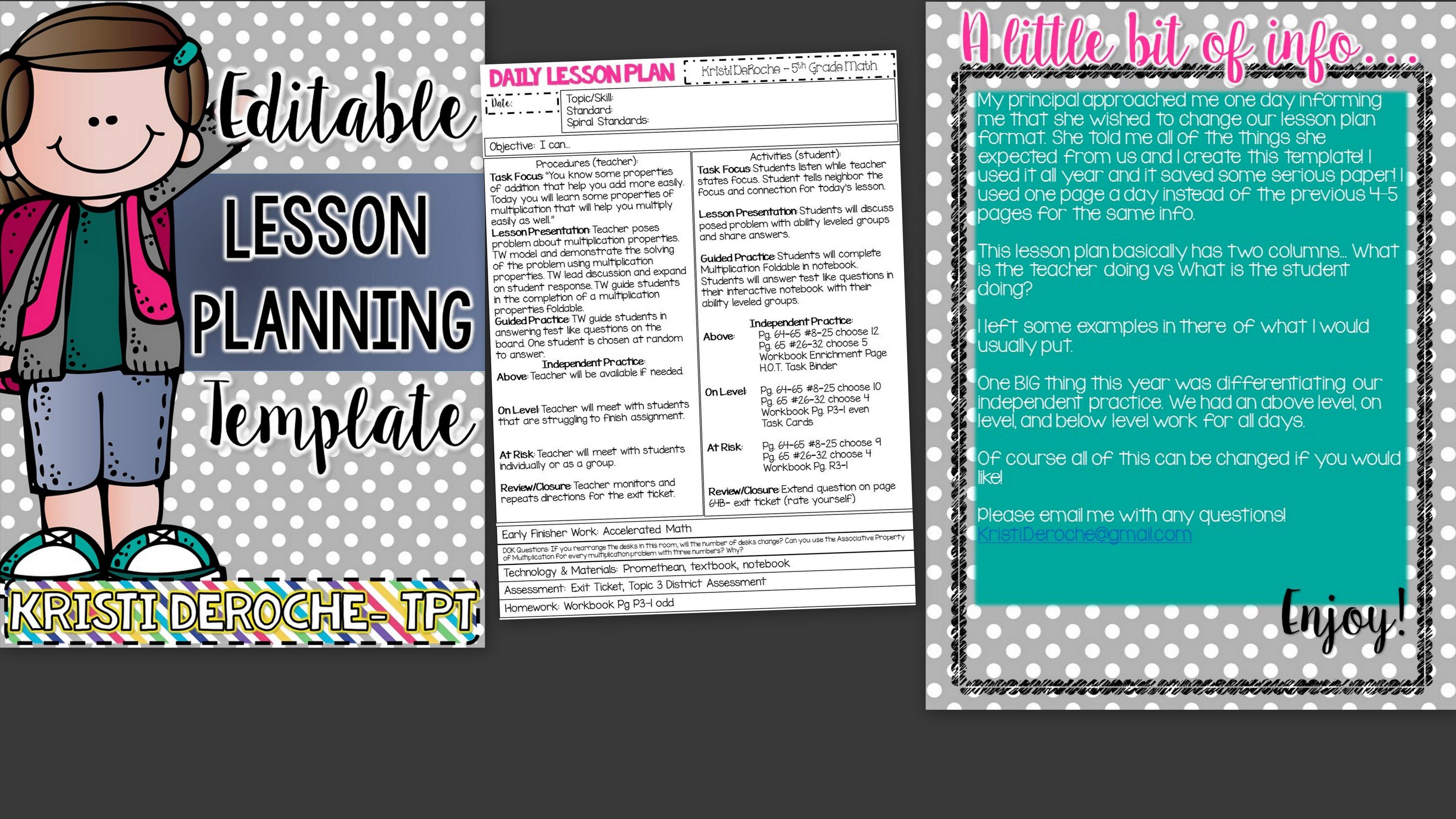 Lesson Planning Template- EDITABLE   History teachers, Maths and Teacher