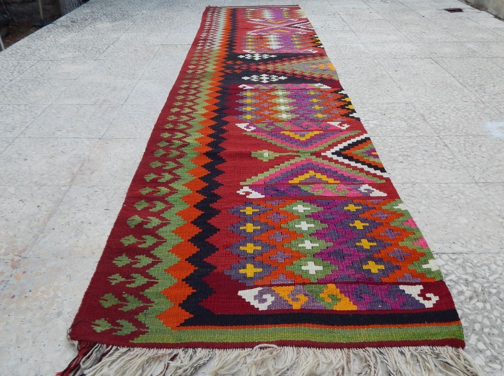 26x106 ft vintage handwoven extra long turkish pink hallway kilim runner rug