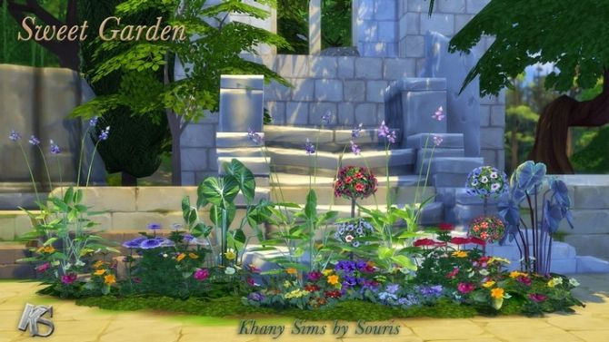 Sweet Garden flowers by Souris at Khany Sims via Sims 4 Updates