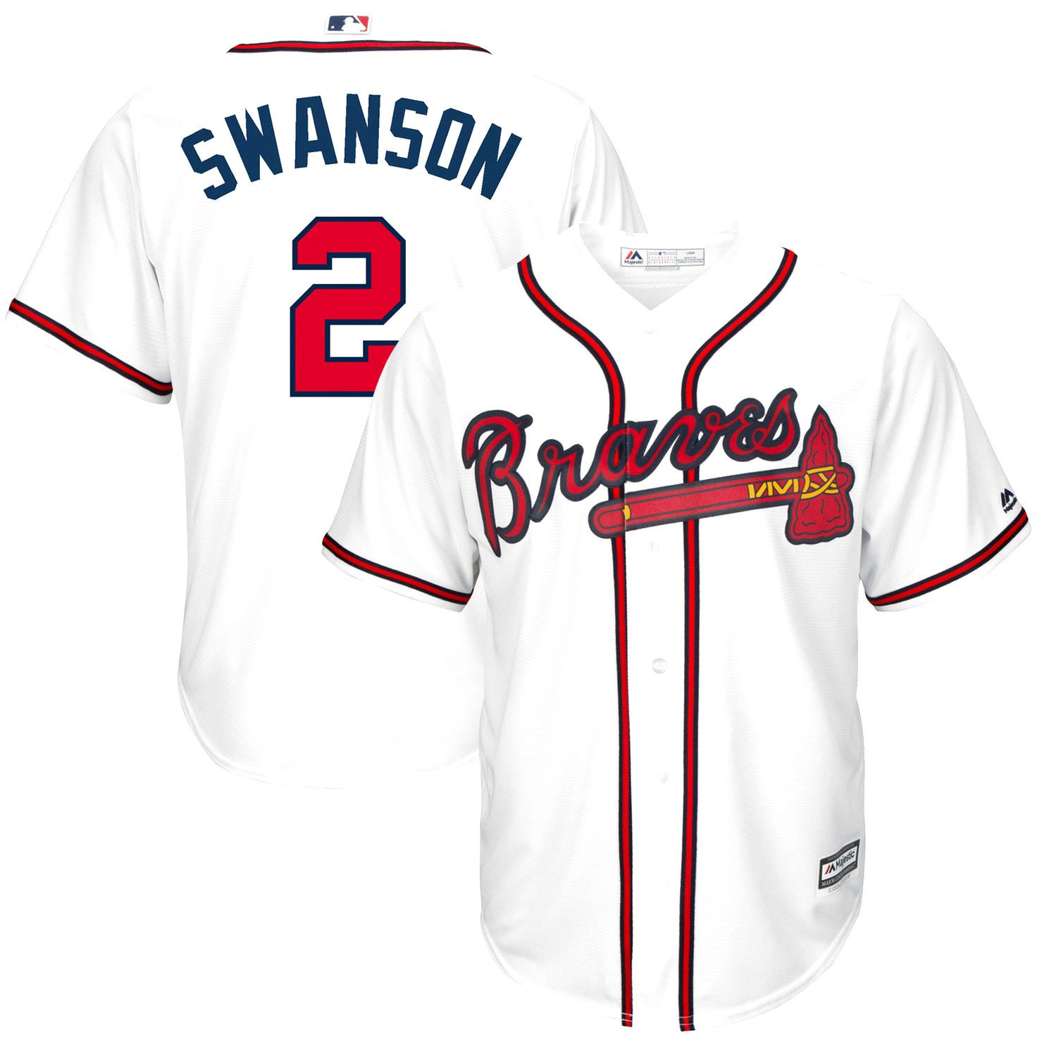 Dansby Swanson Atlanta Braves Majestic Home Cool Base Player Jersey White 119 99 Atlanta Braves Jersey Braves Jersey Atlanta Braves