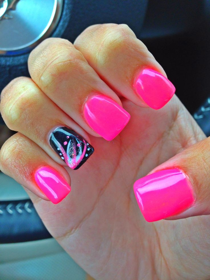 nails - Pink Black acrylics. Such a pretty design with a neon color ...