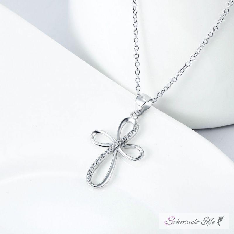 Anhänger Kreuz Infinity mit Zirkonias aus 925 Silber inkl