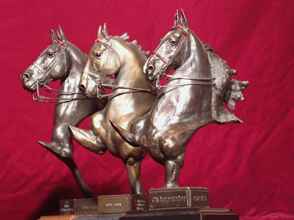 Gotta love an American Saddlebred horse in art. Douwe's trophies are worth riding hard for.  Stallion Bronze Scupltures Douwe Blumberg.