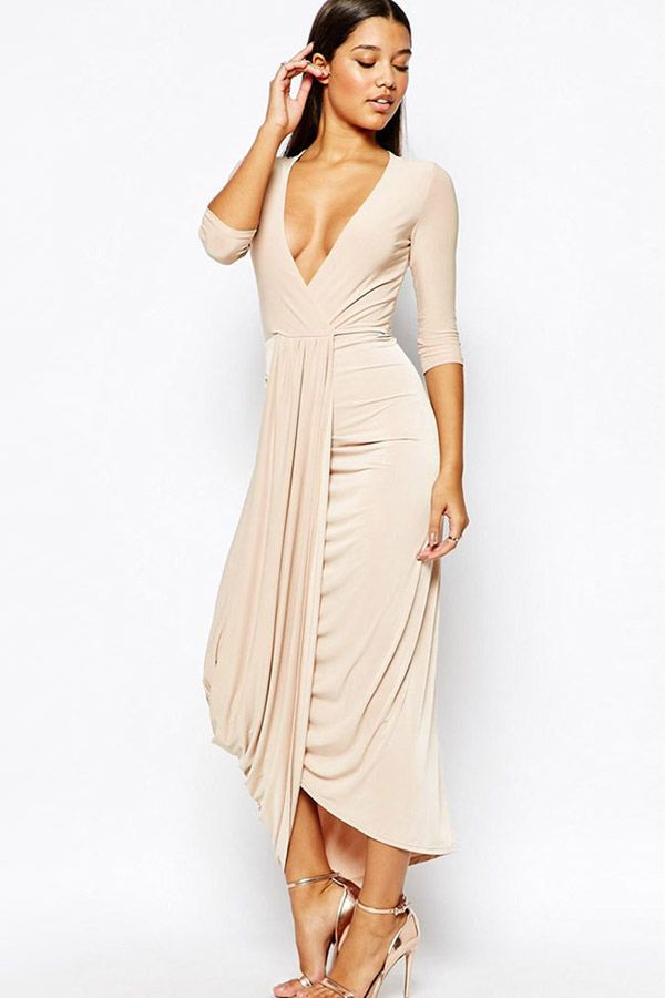 Nude+V+Neck+Ruched+Maxi+Party+Dress+#Nude+#Dress+#maykool