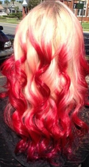 Red And Blonde Reverse Ombre Red Reverse Ombre Reverse Ombre Hair Colored Hair Tips Red Ombre Hair