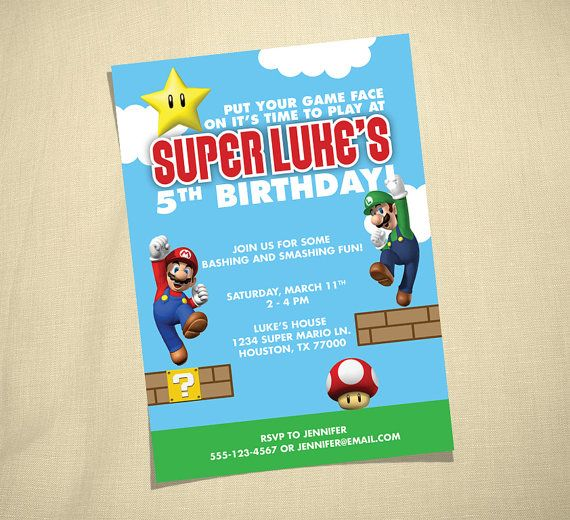 For Jack Henry's 6th Birthday??? mario party invite | Cute ...