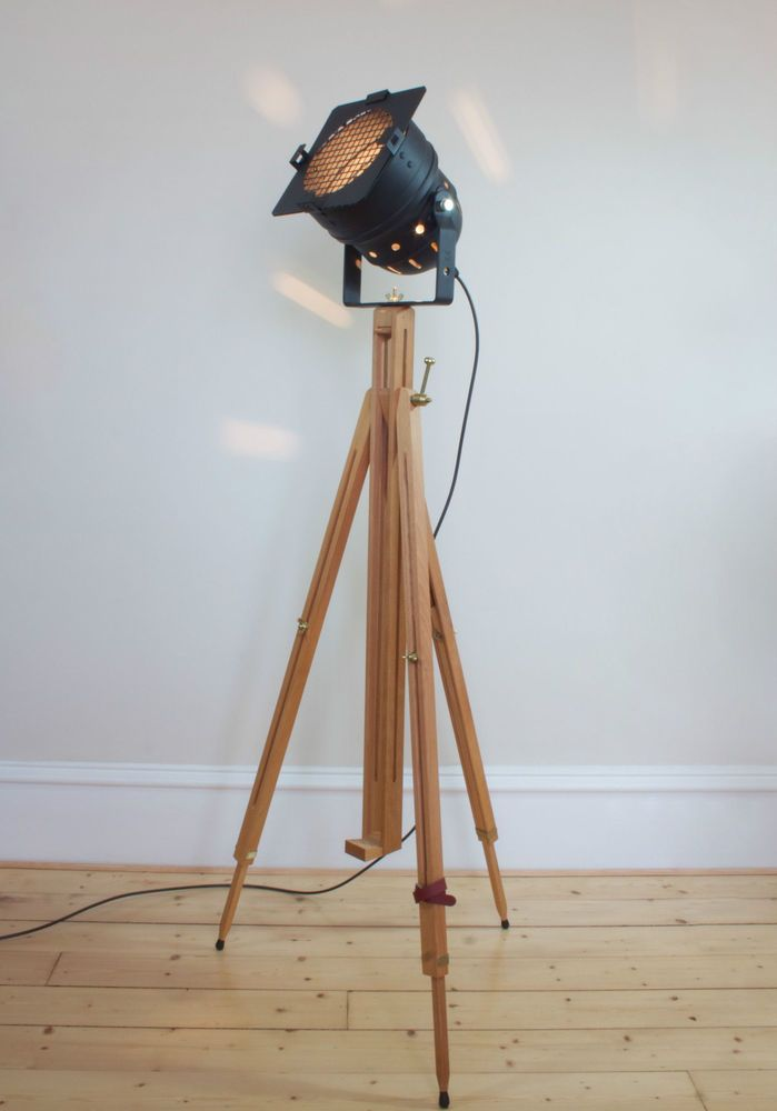 Theatre Stage Wooden Tripod Lamp Industrial Retro Chic