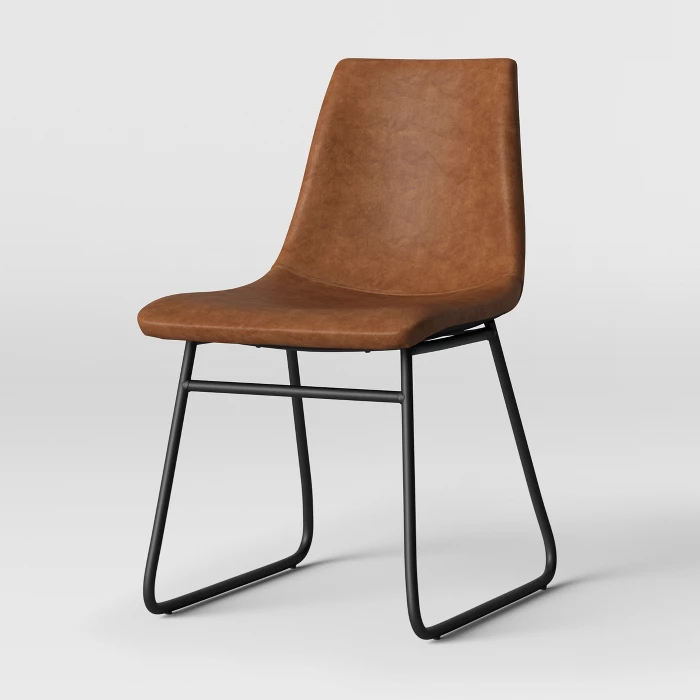 Bowden Faux Leather And Metal Dining Chair Caramel Project 62 In 2021 Faux Leather Dining Chairs Metal Dining Chairs Dining Chairs