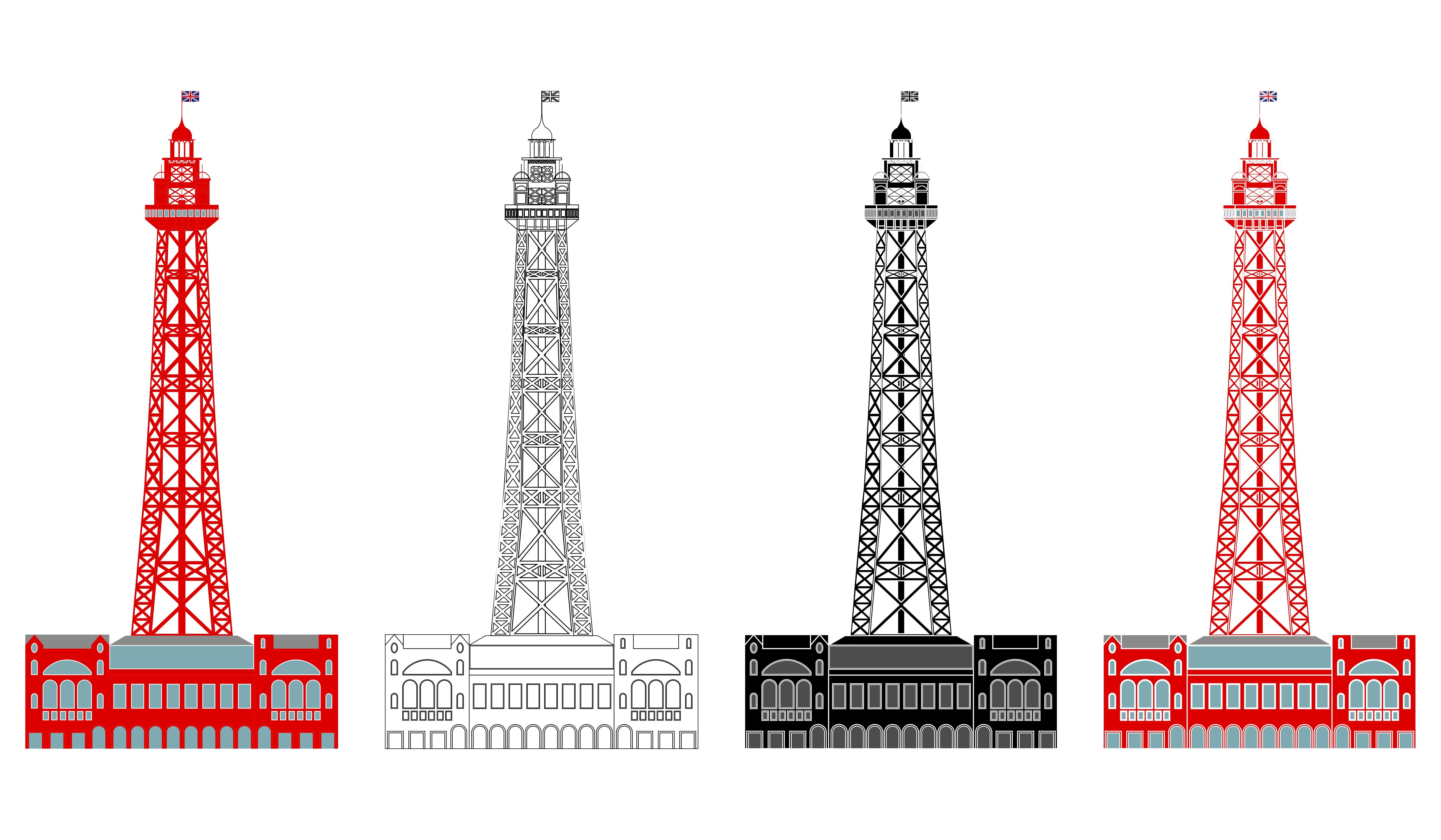 Blackpool Tower In Front View In 2020 Outline Illustration Historical Architecture Landmark Buildings