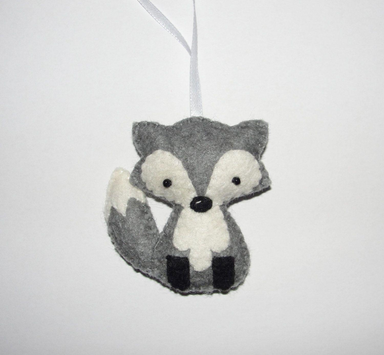 f5dfe6138cb Cute Wool Felt Fox Ornament, Fox Ornament, Gray Fox, Baby Shower ...