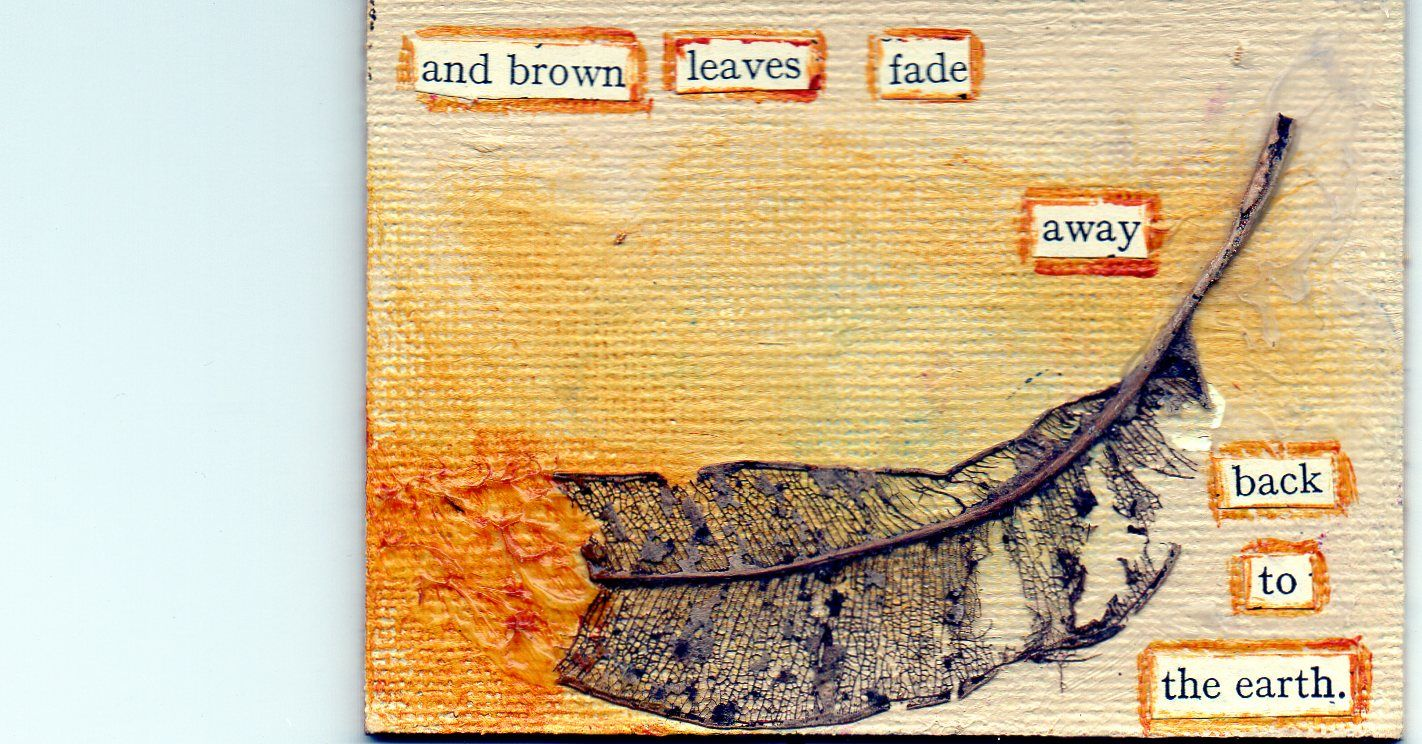 page from a book made from artist trading cards - found poetry, acrylic and collage