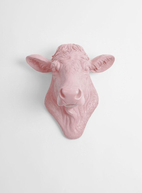 Cow Head Decor By White Faux Taxidermy The Bessie In Cameo Mount