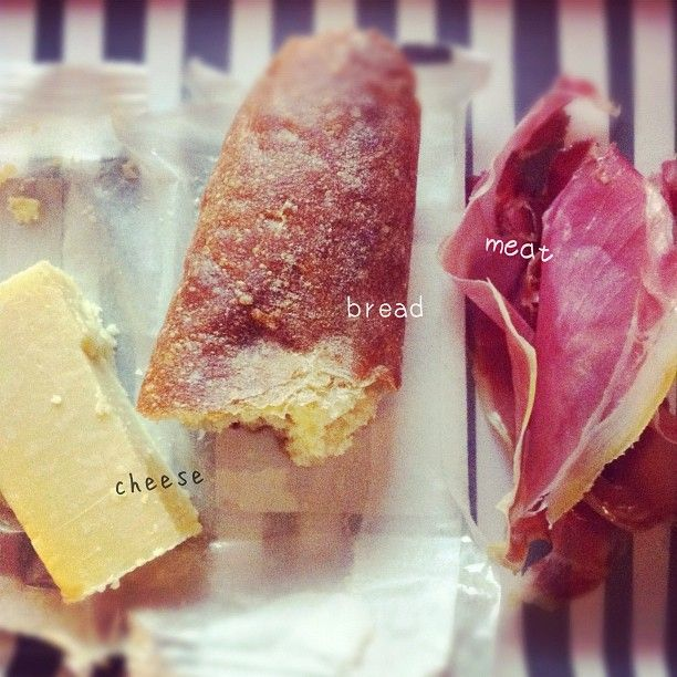 cheese, bread and meat.
