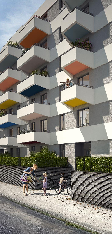 wohnen eichhorster stra e berlin michels architekturb ro neubau eines mehrfamilienhauses farbige. Black Bedroom Furniture Sets. Home Design Ideas